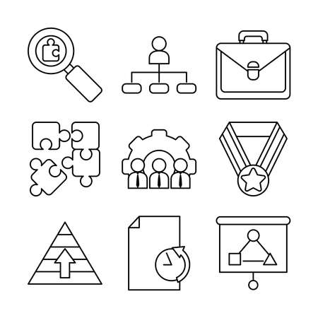 icon set of business portfolio and strategy over white background, line style, vector illustration