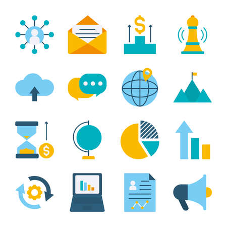 icon set of speech bubbles and strategy over white background, flat style, vector illustration