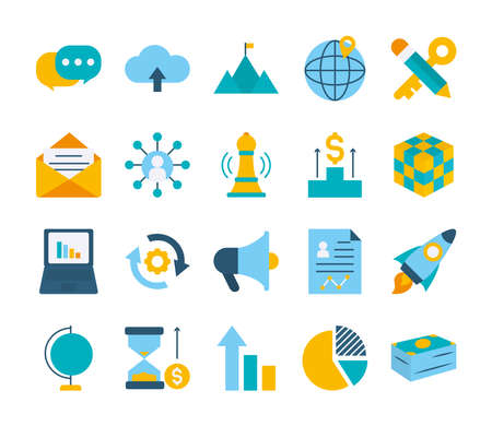 global sphere and strategy icon set over white background, flat style, vector illustration
