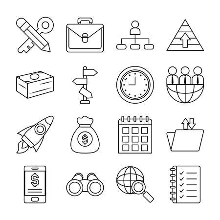 clock and strategy icon set over white background, line style, vector illustration