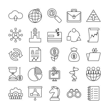 portfolio and strategy icon set over white background, line style, vector illustration