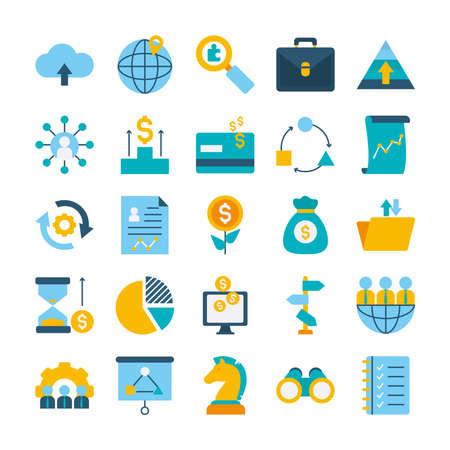 portfolio and strategy icon set over white background, flat style, vector illustration