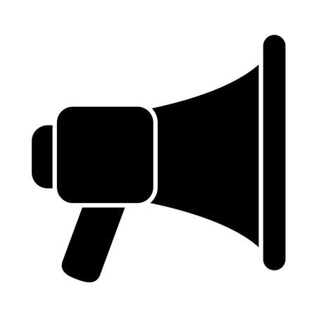 Megaphone silhouette style icon design, Amplifer speaker bullhorn announce speech message communication and loud theme Vector illustration