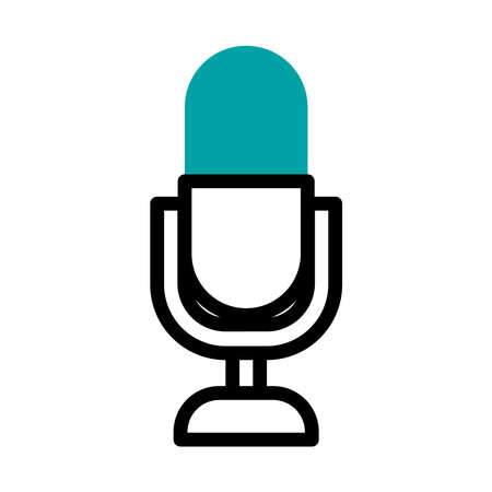 voice microphone icon over white background, half line half color style, vector illustration