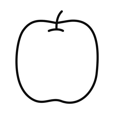 apple fruit icon over white background, line style, vector illustration