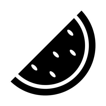 watermelon slice icon over white background, silhouette style, vector illustration