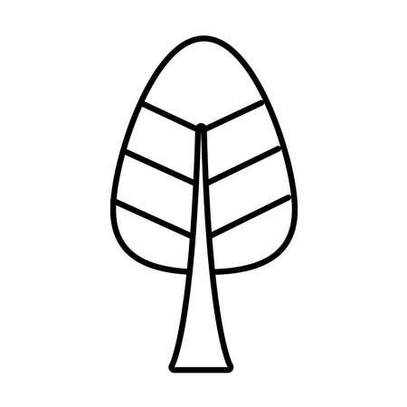 cone shaped tree line style icon design, Nature plant season environment natural and ecology theme Vector illustration