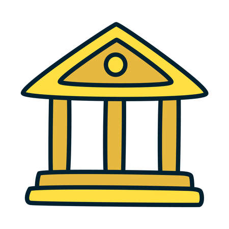 school building symbol icon over white background, fill and line style, vector illustration