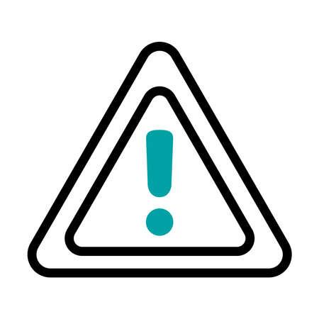 warning sign icon over white background, half line half color style, vector illustration