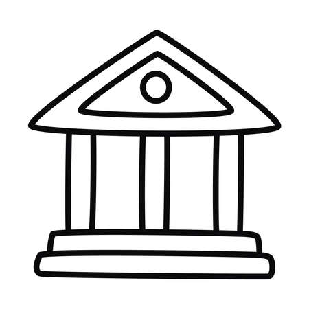 school building symbol icon over white background, line style, vector illustration 向量圖像