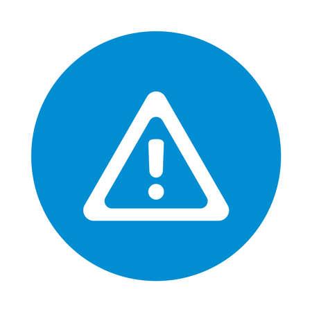 warning sign icon over white background, block style, vector illustration 向量圖像