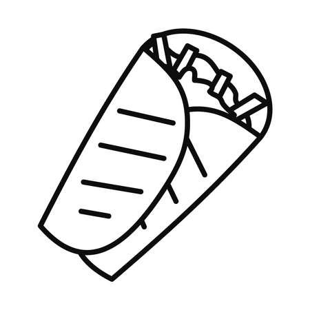 burrito line style icon design, food eat restaurant and menu theme Vector illustration