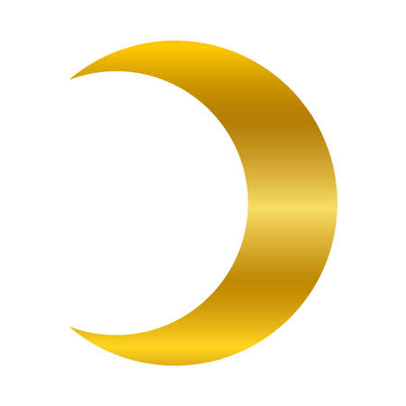 Moon gold gradient style icon of night bedtime sky space moonlight nature light lunar and science theme Vector illustration
