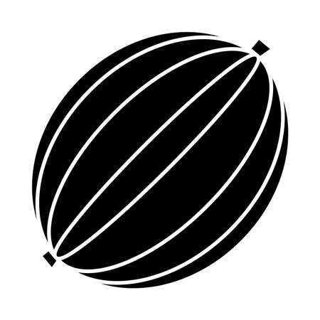 watermelon fruit icon over white background, silhouette style, vector illustration Stock Illustratie
