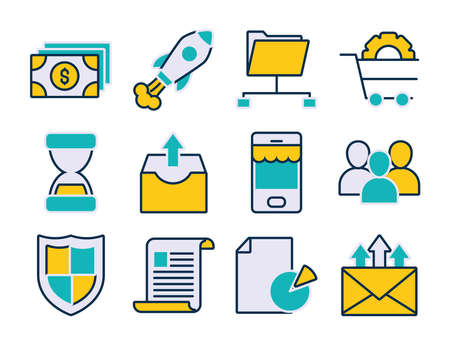 money bills and marketing icon set over white background, line and fill style, vector illustration