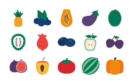 pear and exotic fruits icon set over white background, flat style, vector illustration Illustration