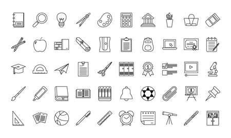 School line style icon set design, Education class lesson and knowledge theme Vector illustration Ilustração