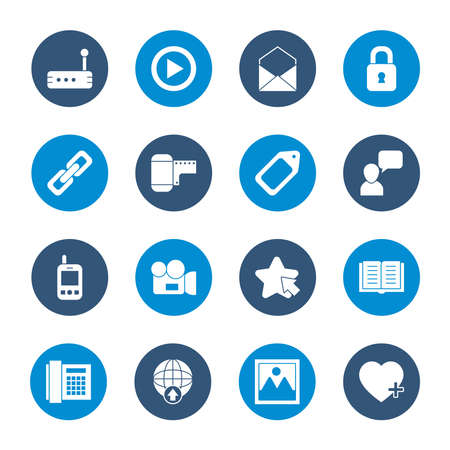 icon set of envelope and social media concept over white background, block style, vector illustration Ilustração