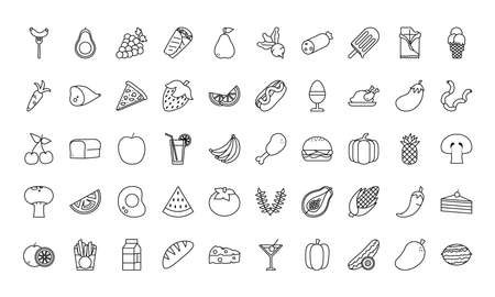 line style icon set design, food eat restaurant and menu theme Vector illustration Vectores