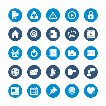 icon set of smartphone and social media concept over white background, block style, vector illustration
