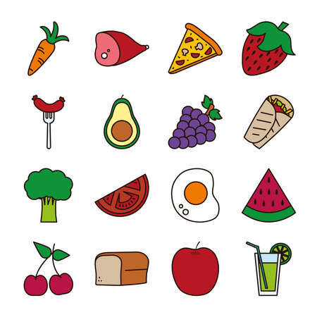 line and fill style icon set design, food eat restaurant and menu theme Vector illustration