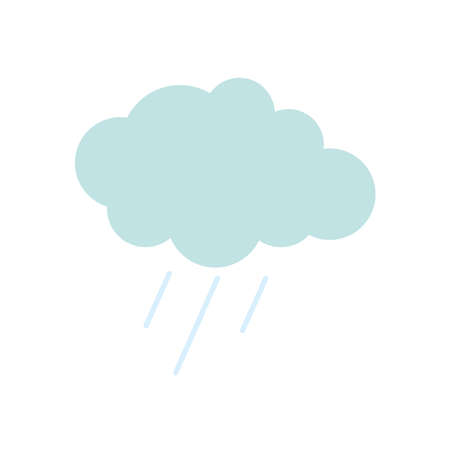 rainy cloud icon over white background, flat style, vector illustration
