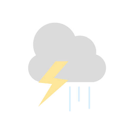 weather concept, thunder and rainy cloud icon over white background, flat style, vector illustration