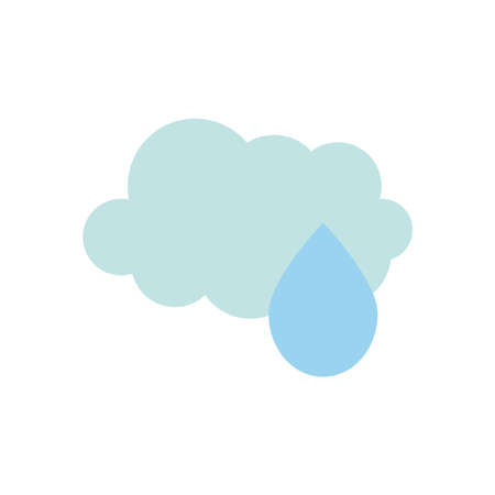 weather concept, cloud and water drop icon over white background, flat style, vector illustration
