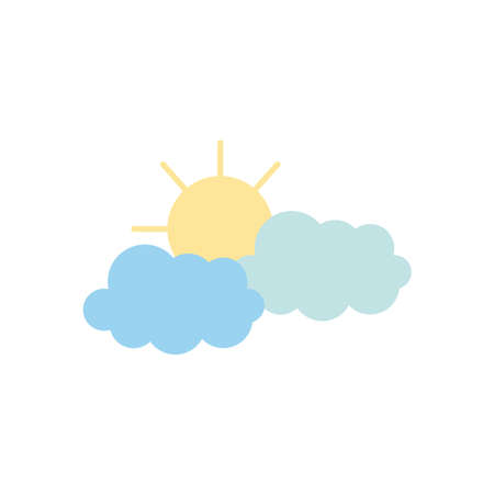 weather concept, sun and clouds icon over white background, flat style, vector illustration Illusztráció