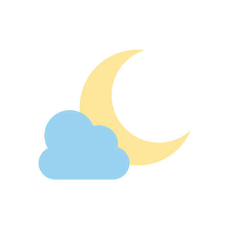 weather concept, moon and cloud icon over white background, flat style, vector illustration