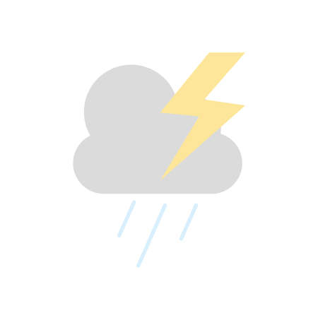 weather concept, stormy cloud with thunder icon over white background, flat style, vector illustration