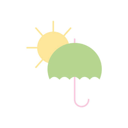 sun and umbrella icon over white background, flat style, vector illustration