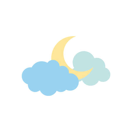 weather concept, half moon and clouds icon over white background, flat style, vector illustration Illusztráció