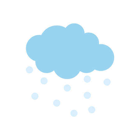 cloud with raindrops icon over white background, flat style, vector illustration