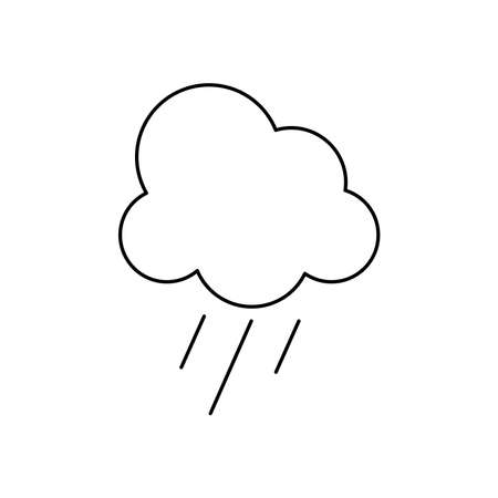 cloud with rain over white background, line style, vector illustration