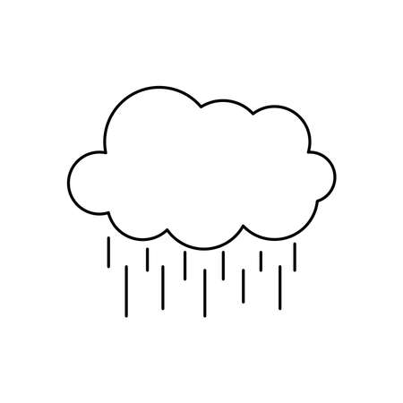 weather concept, cloud with raindrops over white background, line style, vector illustration
