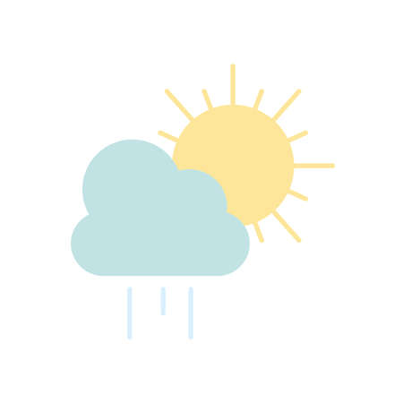 weather concept, rainy cloud and sun icon over white background, flat style, vector illustration Illusztráció