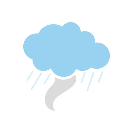tornado cloud icon over white background, flat style, vector illustration