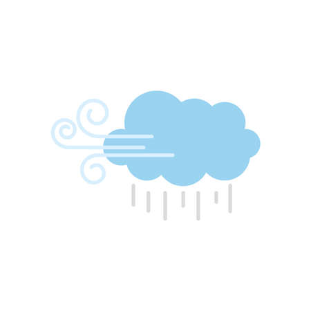 weather concept, wind cloud and rain over white background, flat style, vector illustration