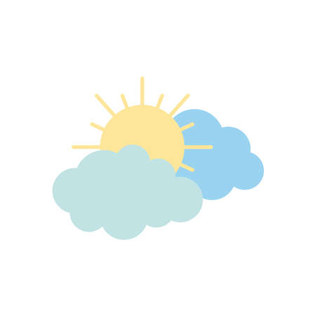 sun and clouds icon over white background, flat style, vector illustration
