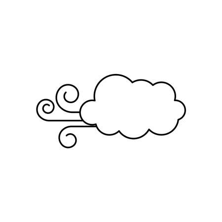 wind cloud icon over white background, line style, vector illustration