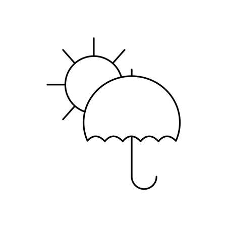 sun and umbrella icon over white background, line style, vector illustration