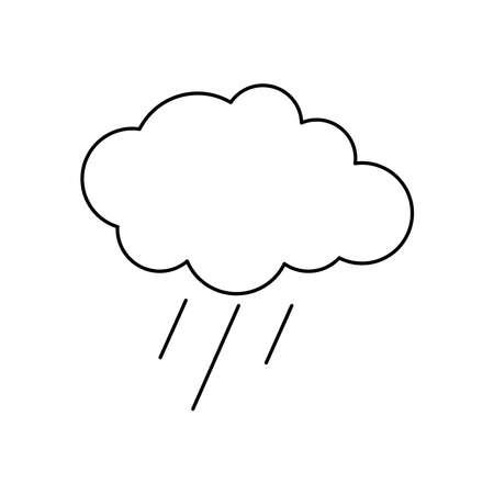 rainy cloud icon over white background, line style, vector illustration