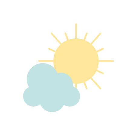 sun and cloud icon over white background, flat style, vector illustration