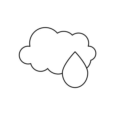 weather concept, cloud and water drop icon over white background, line style, vector illustration