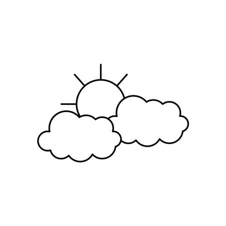 weather concept, sun and clouds icon over white background, line style, vector illustration Illusztráció