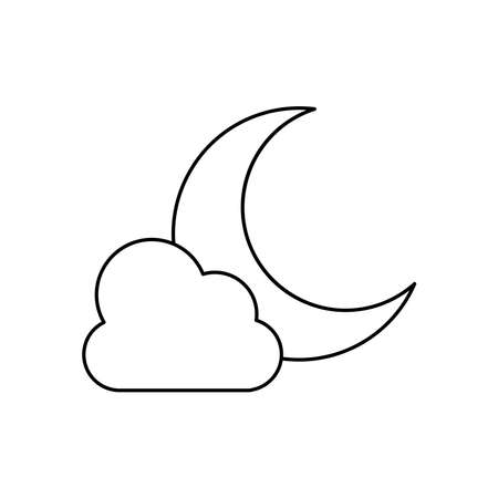 weather concept, moon and cloud icon over white background, line style, vector illustration