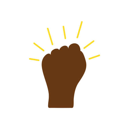 protesting concept, hand with closed fist and decorative sunburst over white background, flat style, vector illustration