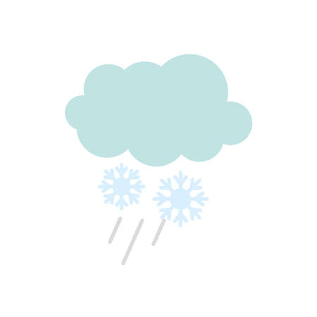 cloud and snowflakes icon over white background, flat style, vector illustration Illusztráció