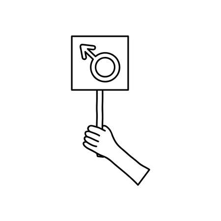 protesting concept, hand holding up a placard with male symbol icon over white background, line style, vector illustration